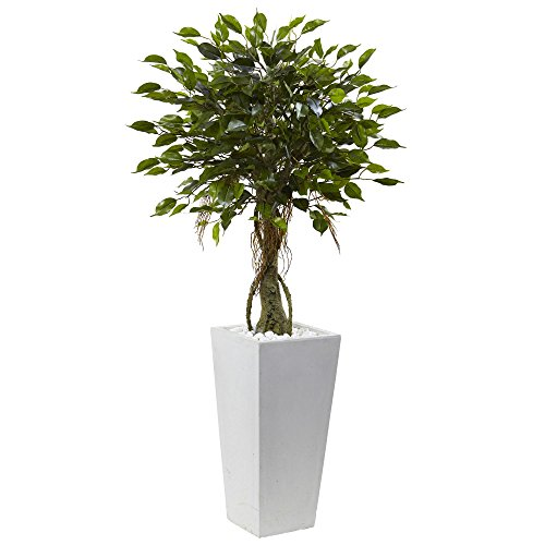 Nearly Natural 5952 52'' UV Resistant (Indoor/Outdoor) Ficus Tree with White Planter by Nearly Natural