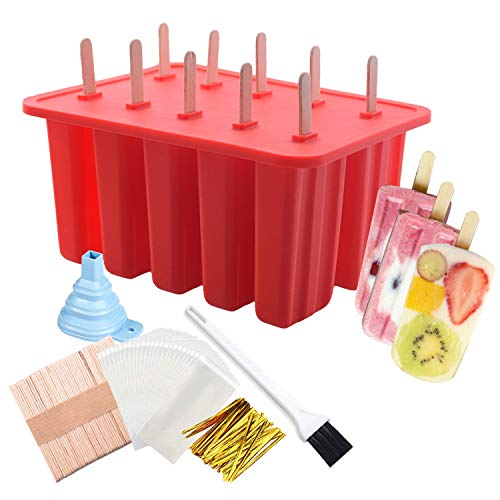 Ice Pop Popsicle Silicone Mold with Lid BPA Free 10 Cavities Frozen Ice Cream Maker DIY Reusable with 50 Sticks, 50 Bags, Ice Pop Recipes, Funnel (Red)