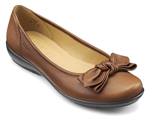 Women's Hotter Ballet EXF Dark Brown Tan Jewel Flats 7dOwqT