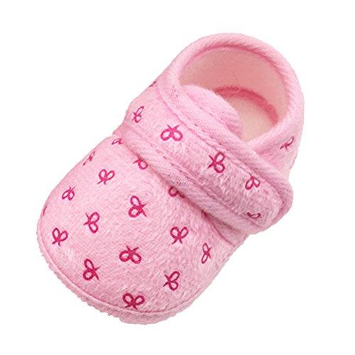 Zhhlinyuan Bebé Girls Boys Warm Cotton Crib Shoes Newborn Soft Sole Toddler shoes Pink