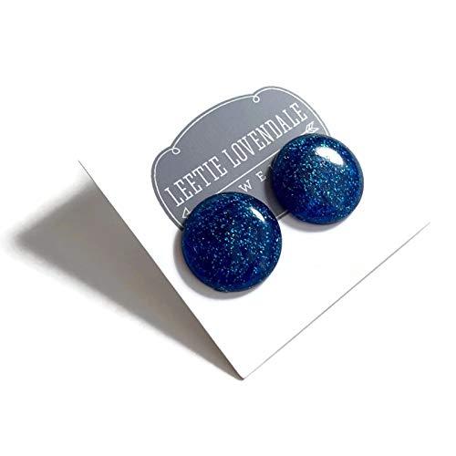 - Blue Glitter Lucite Retro Button Stud Earrings
