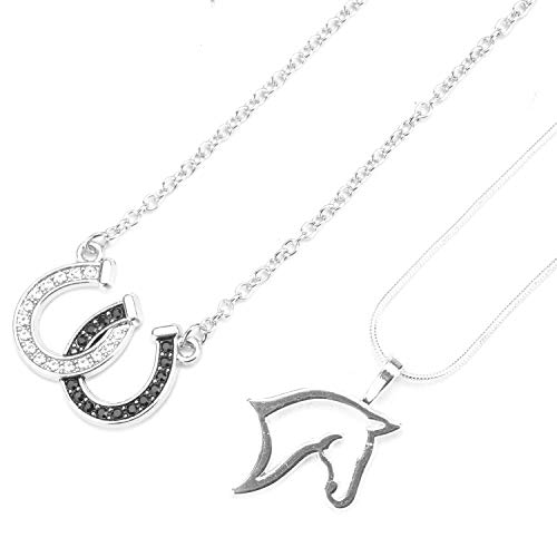 - Monrocco Lucky Horseshoe Necklace Clear and Black Crystals Horseshoes Pendant Necklace