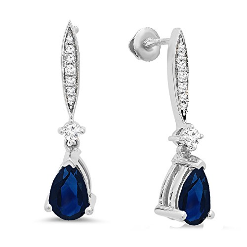 Dazzlingrock Collection 10K 8X5 MM Each Pear Lab Created Blue Sapphire & Round Diamond Ladies Dangling Earrings, White Gold