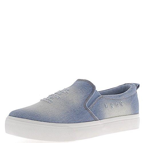 Slip-on bleu jean avec griffures en toile