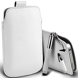Samsung Galaxy Express 2 premium protección PU ficha de extracción Slip Cord En la cubierta de la caja del filtro del bolsillo de la Piel y Mini capacitiva lápiz óptico retráctil Blanca por Spyrox