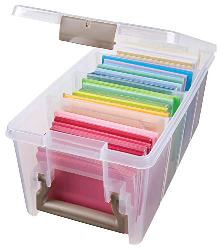 ArtBin 6925AB Semi Satchel Box - Clear, Plastic Art and Craft Supplies Box with Gold Dividers, Handle and Latch