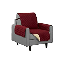 Quilted Reversible Microfiber Pet Dog Couch Furniture Protector Cover (Chair, Burgundy/Camel)