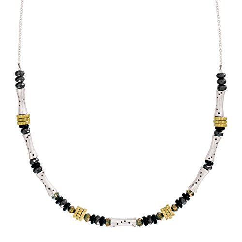 Silpada 'on the Horizon' Natural Agate & Hematite Necklace with Swarovski Crystals in Sterling Silver & Brass