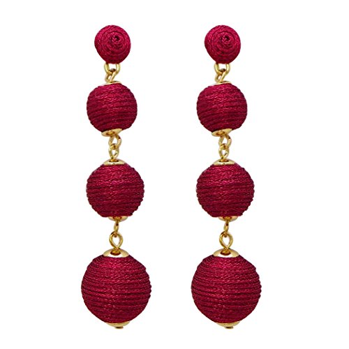 Rosemarie Collections Women's Shiny Metallic Thread Ball Dangle Earrings (Dark - Shiny Ball Red