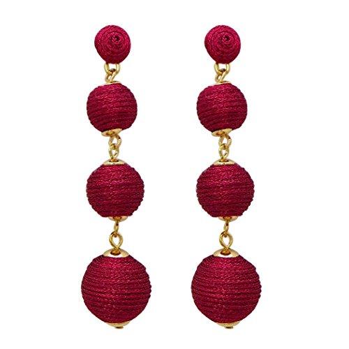 Rosemarie Collections Women's Shiny Metallic Thread Ball Dangle Earrings (Dark - Ball Shiny Red