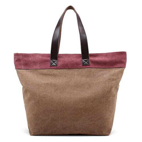 Sucastle sacchetti di svago sacchetto di modo del sacchetto di spalla di tela retro borsa bag Sucastle Colore:Marrone e viola Dimensione:38x35x16cm