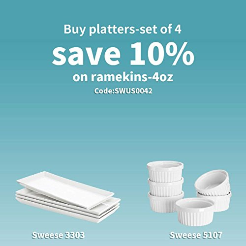 Sweese 3303 Rectangular Porcelain Platters/Trays for Parties - 12.9 Inch, Set of 4 by Sweese (Image #2)