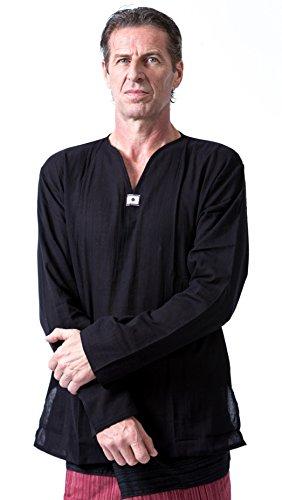 Men Renaissance Medieval Black Linen T Shirt V Neck Hippie Pirate Fisherman Beach Kurta Yoga (Large)