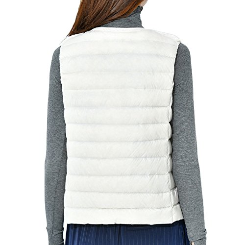Coat Crewneck Bmeigo Jacket Down Womens Wind Vest White Waistcoat HqHpFawxP