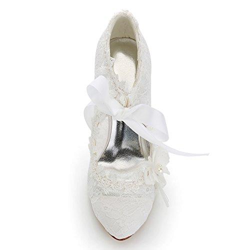 JIA JIA Damen Brautschuhe 16798 Geschlossene Zehe High Heel Spitze Satin Pumps Perle Bowknot Ribbon Tie Hochzeitsschuhe Elfenbein