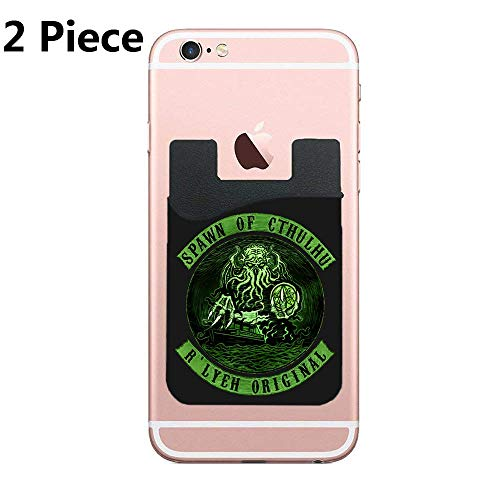 (ZninesOnhOLD Two Spawn of Cthulhu Azhmodai Cell Phone Stick On Wallet Card Holder Phone Pocket for iPhone, Android and All Smartphones (Black))