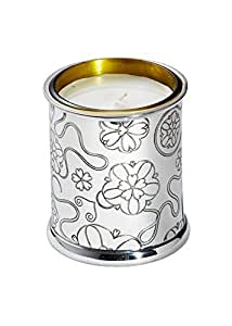 Wentworth Pewter - Yorkshire Rose Pewter Candle Votive - H:90mm Dia:75mm