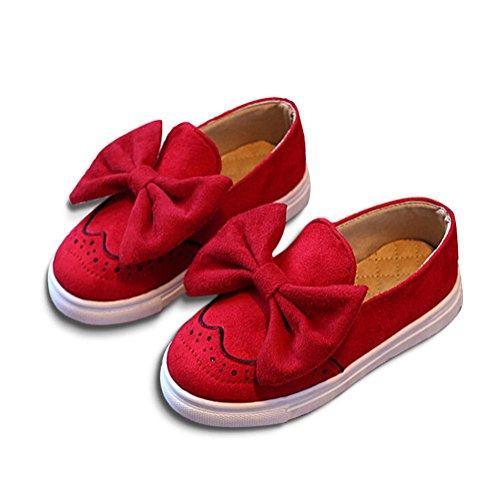 Baby Mädchen Schuhe mit Bowknot Lauflernschuhe Anti-Rutsch Flache Hausschuhe Rot