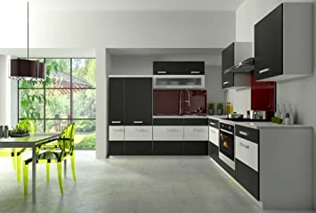 Küche Fabienne 260x220 cm Küchenzeile in schwarz/weiß - Küchenblock ...