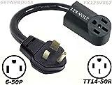 Power Converter, 6-50P Welder 220/250V Male Plug To TT14-50R 110/125V RV Travel Trailer Camper Motor Home Female Socket Receptacle Outlet Cable Electric Cord Adapter FX125V867