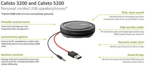 Plantronics Calisto 5200 Usb A 3 5 Mm Konferenzgerät Mit Mikrofon Und Lautsprecher Audio Hifi