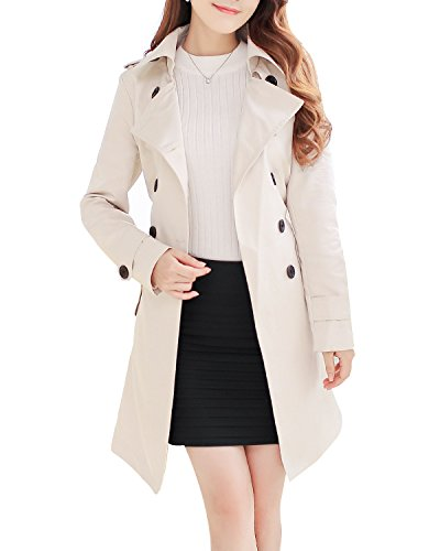 NANJUN Women's Double Breasted Trench Coat Chelsea Tailoring Overcoat (Beige 12)