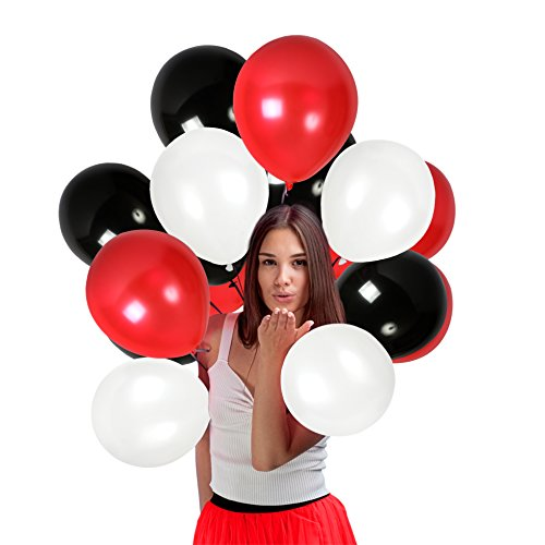 Red White Black Latex Balloons 12 Inch Thick Balloon Pack of 100 with Ribbons Party Kit for Graduation Birthday Wedding Bridal Shower Anniversary Decorations