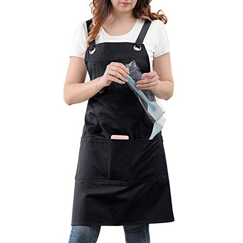 Professional Kitchen Apron for Chef, Artist, Grill, BBQ, Shop, Baking for Women and Men with Cross Back + Fasten/Quick Release Buckle + 6 Pockets + 2 Towel Loops, Adjustable M to XXL, 100% Cotton