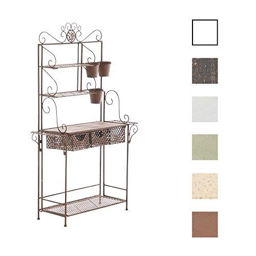 CLP XL Pflanzen-Regal SHINE, Eisen, 4 Ablageflächen, 3 Schubkörben, bis zu 7 Farben wählbar antik braun