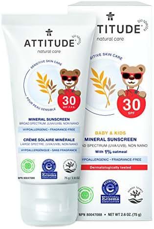 ATTITUDE Sensitive Skin, Hypoallergenic Mineral Sunscreen, SPF 30, Fragrance Free, 2.6 oz