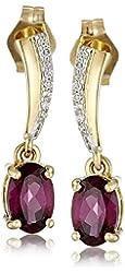 14k Yellow Gold Oval Shape Rhodolite Garnet Diamond Drop Earrings