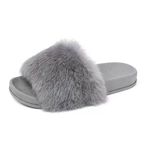 sunnymi Fashion Women Soft Fluffy Faux Fur Flat Anti-slip Slipper Indoor Outdoor Flip-flops Sandal Shoes Size 3.5-5.5 UK (UK 4.5 / EU 38, Grey)