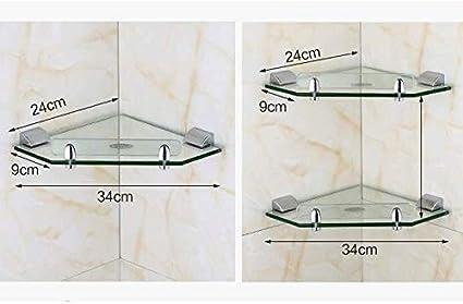 WYJBD Porte-Serviette en Verre /à 2 Niveaux Sable Extra-/épais argent/é, Size : A /étag/ère dangle en Verre tremp/é fix/é au Mur