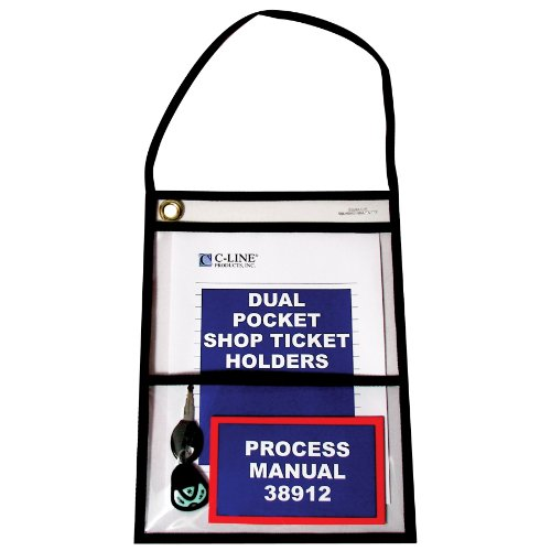 - C-Line Stitched Dual Pocket Shop Ticket Holder with Hanging Strap, Both Sides Clear, 9 x 12 Inches, 15 per Box (38912)