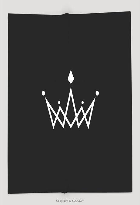 Custom Throw Blanket Crown Logo Monogram Mockup Black And White