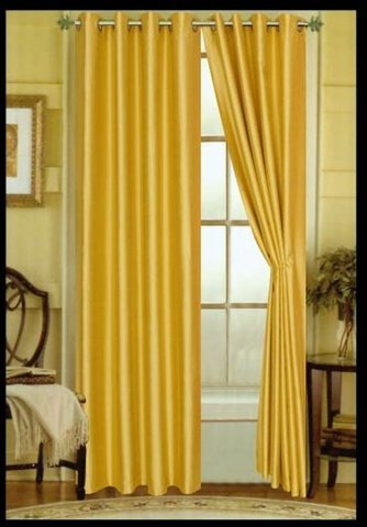 Editex 627V8427 84 in. Elaine Faux Silk Panel with Grommets in Yellow