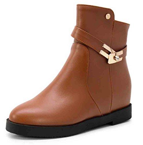 Easemax Kvinners Trendy Metall Rund Tå Glidelås Midt Skjult Hæl Ankel Boots  Brun