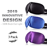 Sleep Mask Pack of 3, Eye Mask for Men and Women with 3D Contoured Shape, 100% Block Out Light, Lightweight & Comfortable with Adjustable Strap for Traveling/Naps/Night Sleeping(Black &.
