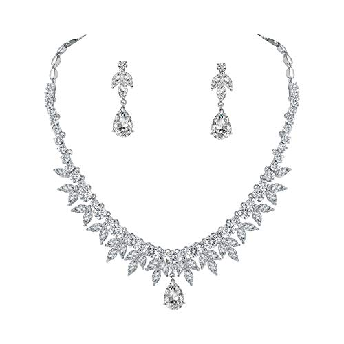 WeimanJewelry Silver/Gold Plated Women Round Cubic Zirconia Marquise CZ Bridal Teardrop Necklace and Water Drop Dangle Earring Set for Bride Wedding Set (Silver) ()