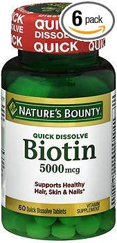 Nature's Bounty Biotin 5000 mcg Vitamin Supplement Quick Dissolve Natural Strawberry Flavor - 60 Tablets, Pack of 6