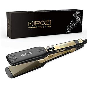KIPOZI Lisseur Cheveux Professionnel, Plaque Large en Titane avec Affichage Numérique Lcd, Adapté à Tous les Types de…