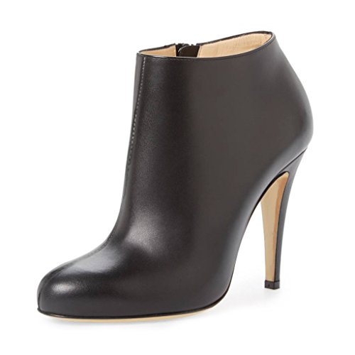Stiletto Heels Toe Comfy US Shoes 4 Women Black 15 Fashion Zipper Almond Ankle Side With Booties FSJ Size XqwSBxCt