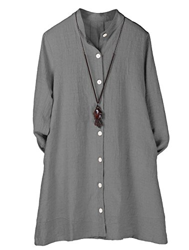 Minibee Women's Button Down Jacket Long Sleeve Jacquard Blouses Cardigan Gray (Linen Womens Shirt Jacket)