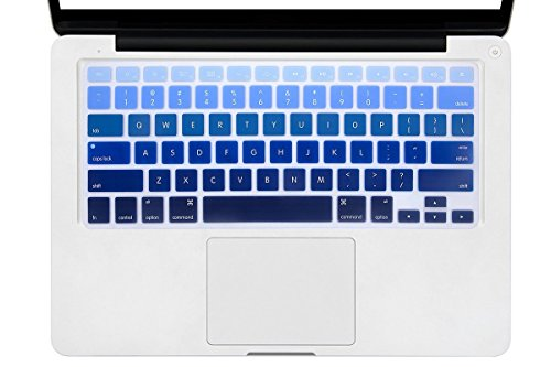DHZ Dark Blue Gradient Ombre Keyboard Cover Silicone Skin for 2015 or Older Version MacBook Air 13 MacBook Pro 13 15 inch (No Fit for 2018 MacBook air 13 or 2017/2016 Released New MacBook Pro 13 15)