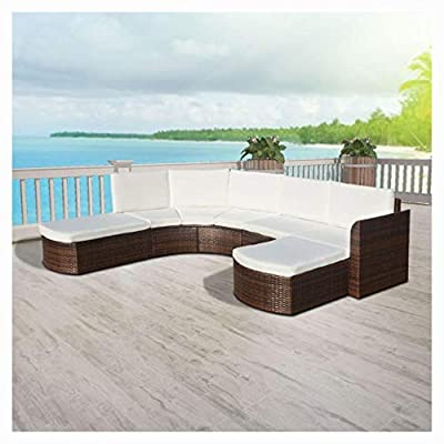 HEATAPPLY Outdoor Furniture Set, 4 Piece Garden Lounge Set with Cushions Poly Rattan Brown