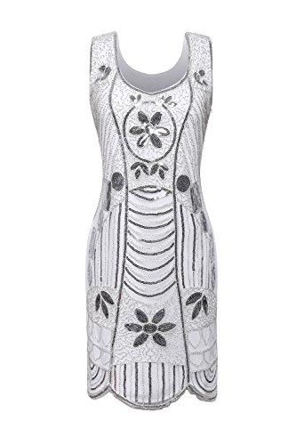 1920s Beaded Sequin Flapper Dress with Beading Scalloped Hem(S,white-Q1) (Sequin 1920s Dress)
