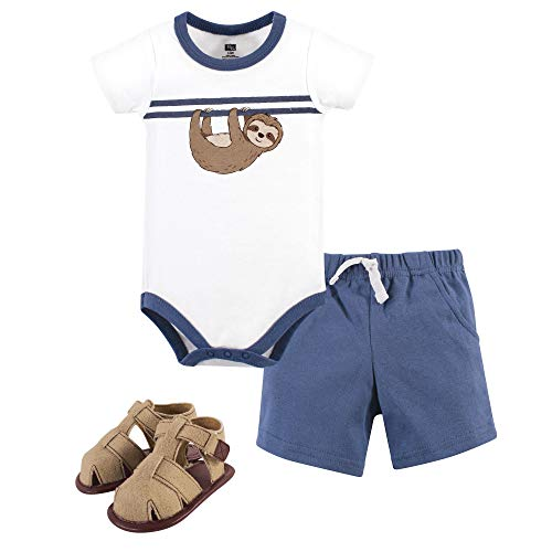 Hudson Baby Unisex Baby Bodysuit, Bottoms and Shoes, Sloth 3-Piece Set, 0-3 Months -