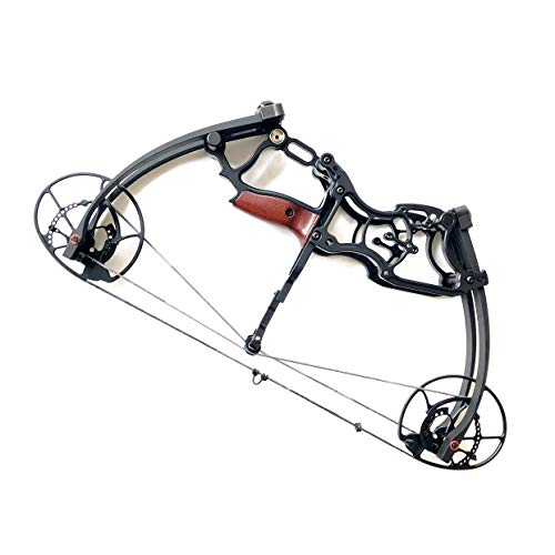 siciwinni 20'' Short Small Bow 40# - 65# Adjustable Triangle Compound Bow - Right & Left Hand Archery Hunting/Car/Fishing Bow (Black) (65 Pound Compound Bow)
