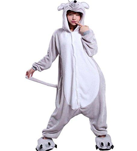 [Unisex Adult Mouse Kigurumi Animal Onesie Pajamas Costume Cosplay Clothing Sleepwear Romper Outfit] (Role Reversal Halloween Costumes)