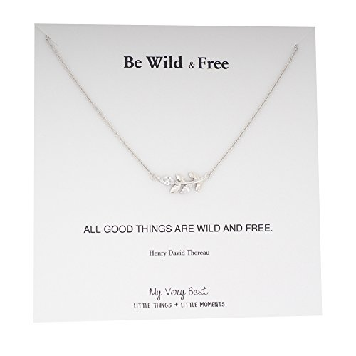 Silver Leaf Necklace (My Very Best Be Wild and Free Sideways Leaf Necklace (silver plated brass))